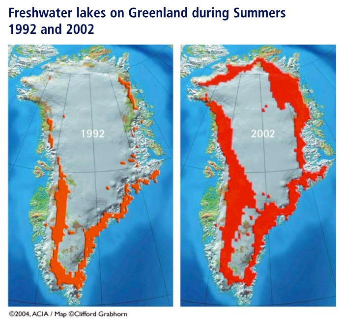 Fig. 1: Freshwater lakes on Greenland during Summers 1992 and 2002.